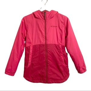 COLUMBIA Girls Raspberry Pink Two Tone Color Block Fall Jacket
